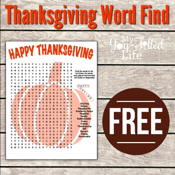 FREE Printable Thanksgiving Word Find